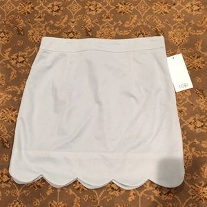 Tobi light blue scalloped edge skirt